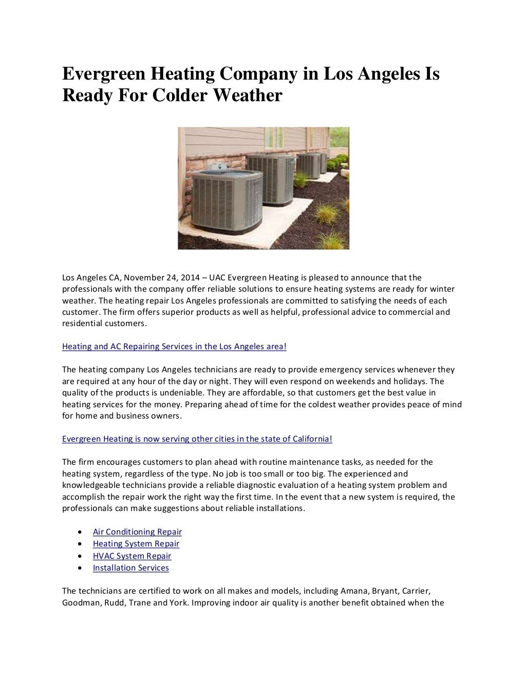 Evergreen Heating By Victor Harper Via Slideshare Heating Repair