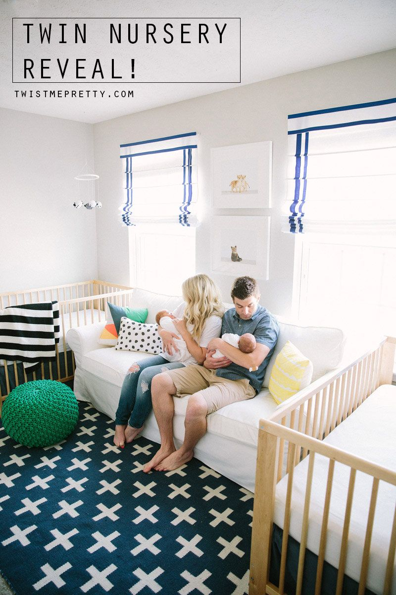 This is such a beautiful and functional twins nursery! Click to ...