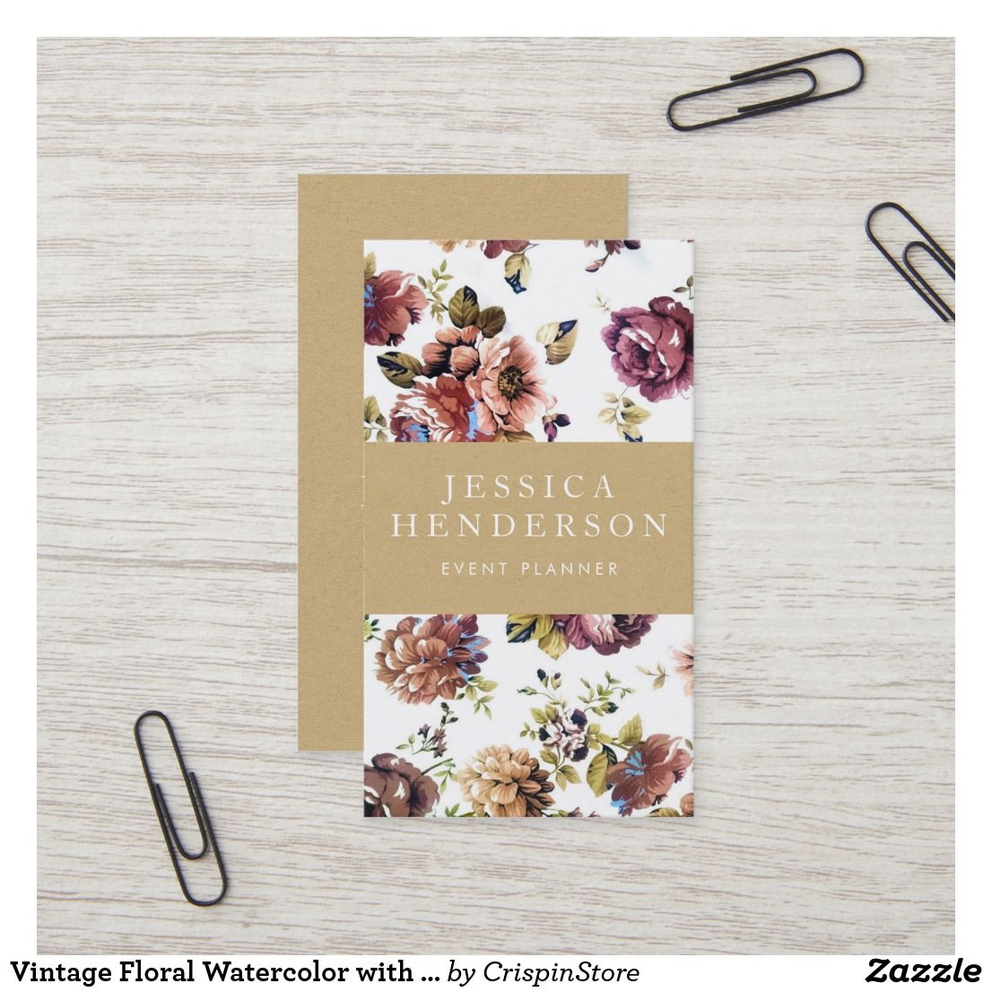 Vintage Floral Watercolor with Rustic Kraft Business Card
