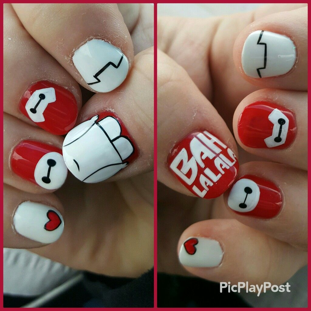 baymax - big hero 6 nail art
