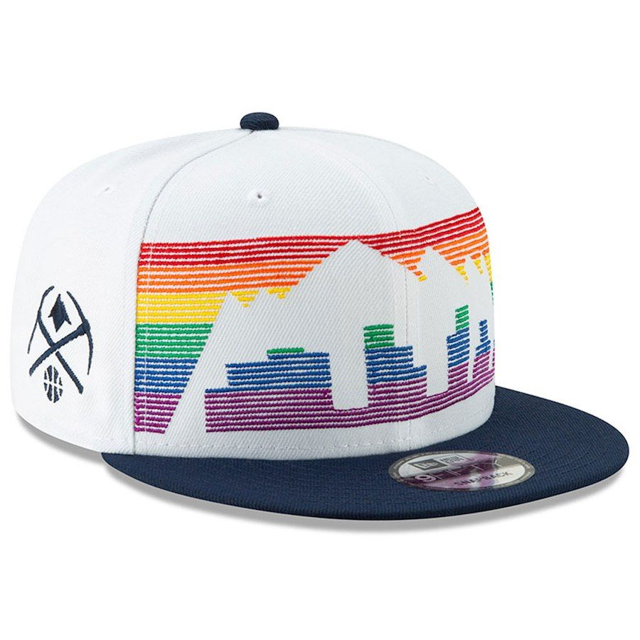 03806433797 Men s Denver Nuggets New Era White 2018 City Edition On-Court 9FIFTY  Snapback Adjustable Hat