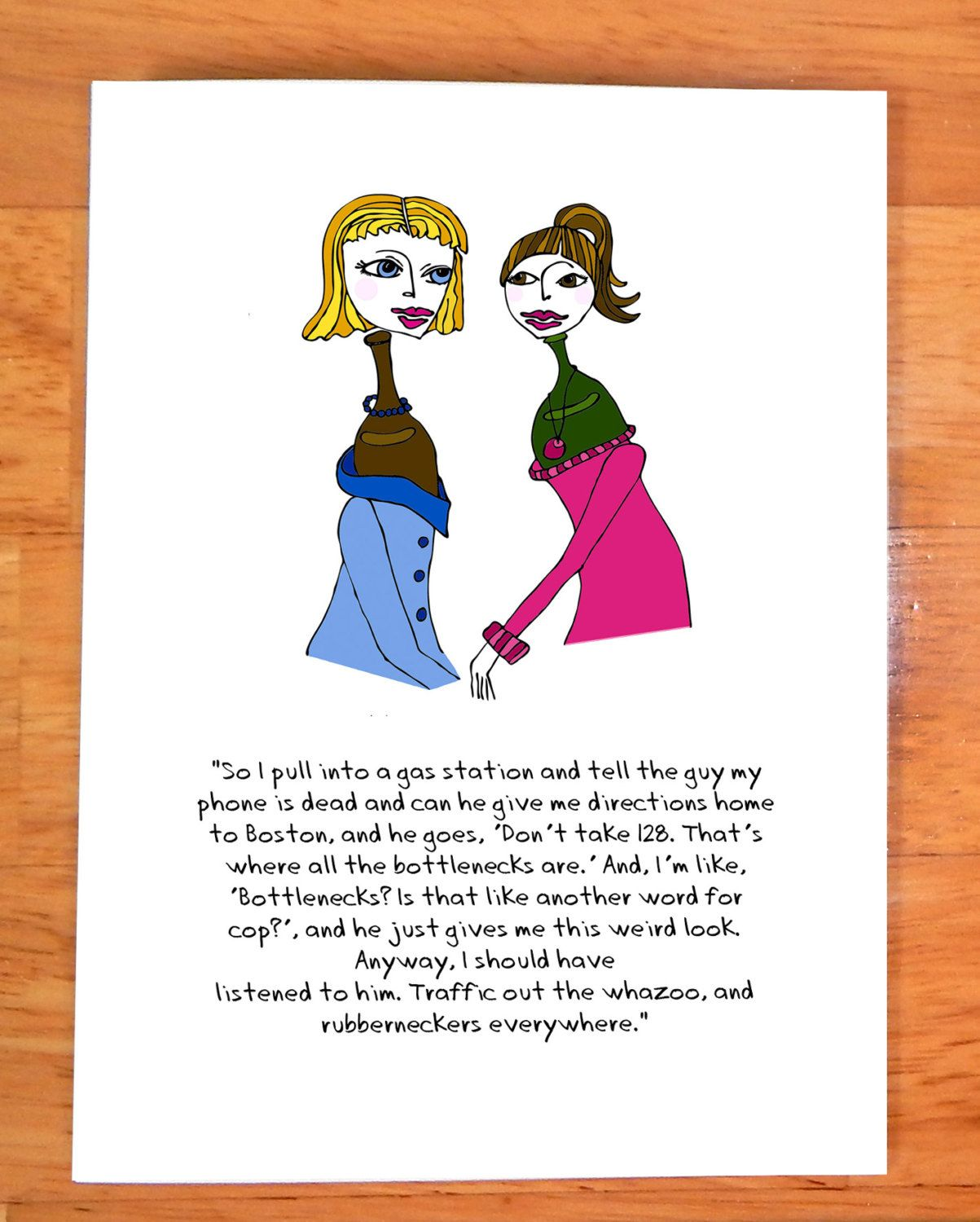 Funny Card 5 X 7 Note Card Greeting Card Blank Inside Perfect For Matting And Or Framing Taken Literally Bottlen Funny Cards Story Card Blank Cards