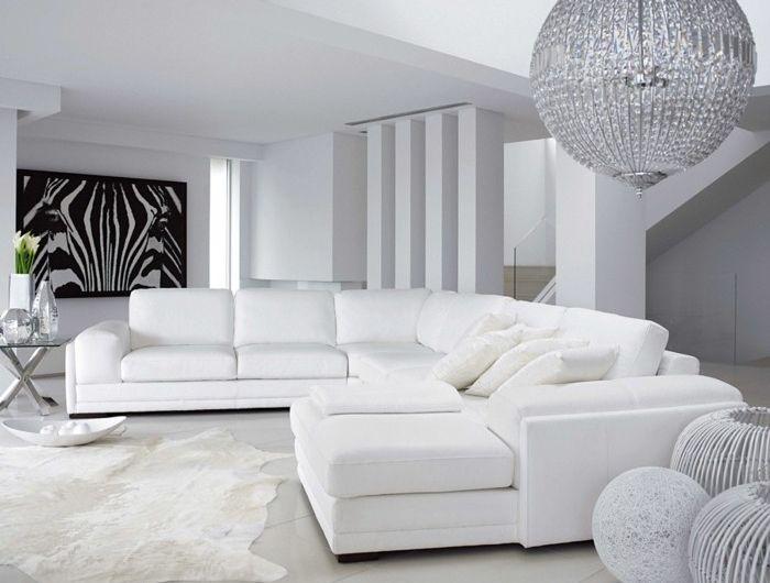 superbe-suggestion-couleur-mur-salon-blanc-meubles-blancs-tableau ...