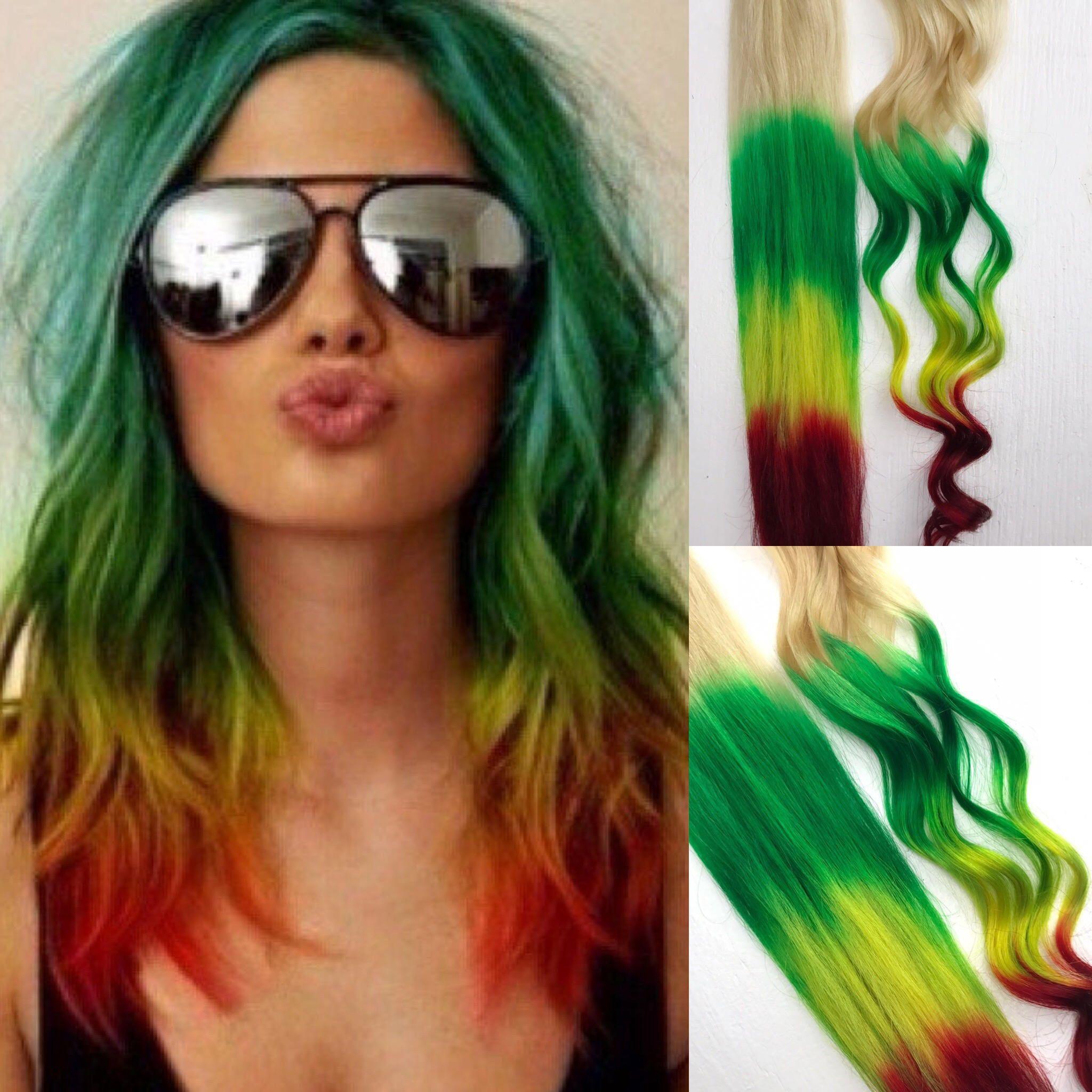 Rasta Clip In Hair Clips Wide Tracks Ombre Hair Extensions Etsy Rasta Hair Hair Styles Dip Dye Hair