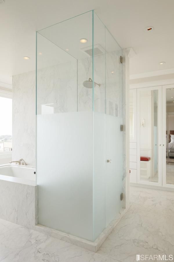 Half frosted glass shower, wall into her master bath from his | New ...