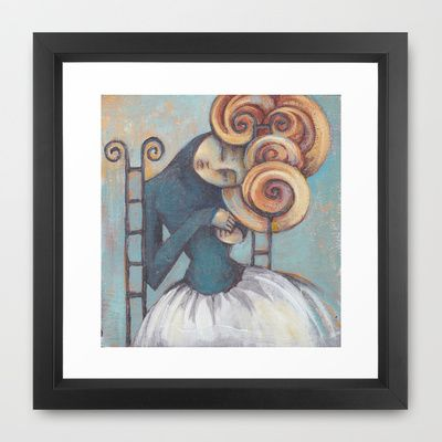 CURLY SUE Framed Art Print by Erin Duquette  - $42.00