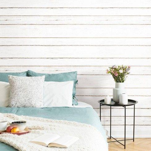 RoomMates 28.2' Shiplap P&S Wallpaper White White