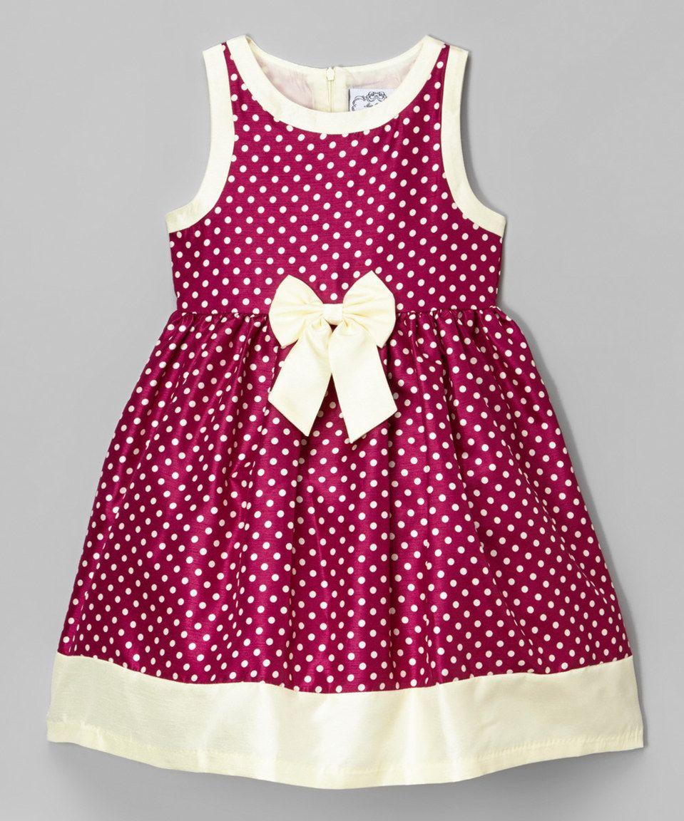 Look what I found on #zulily! Wine & Cream Polka Dot Shantung Dress ...