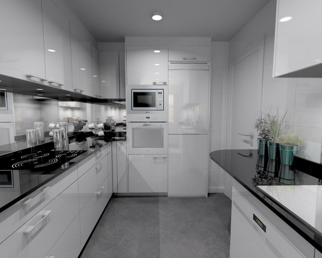 Cocina Santos Modelo Plano Laminado Blanco Brillo Con Encimera  # Muebles Cocinas Soinco