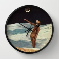 Wall Clocks featuring CRESCENT by Beth Hoeckel Collage & Design