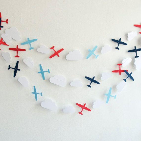 flugzeug-girlande - papier-girlande - kinderzimmer dekoration ... - Kinderzimmer Deko Flugzeug