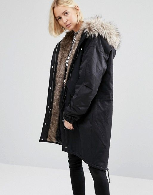 Noisy May | Noisy May Oversized Parka Jacket with Faux Fur Lining ...