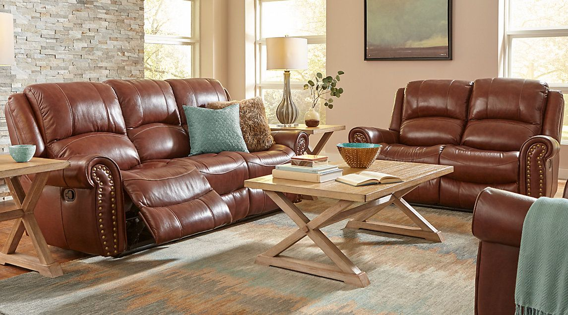 Abruzzo brown 5 pc reclining leather living room leather