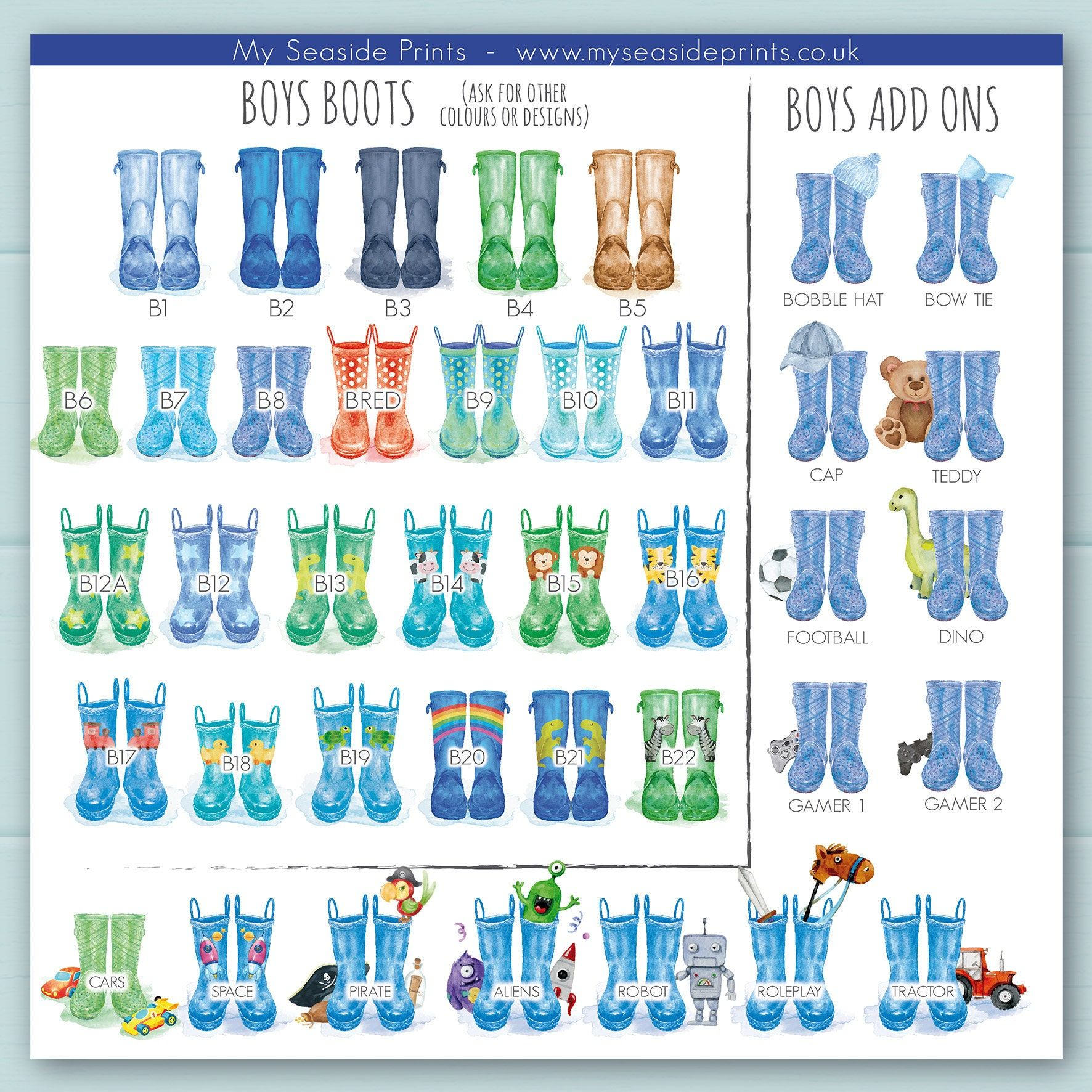 This personalised Joint Christening print is suitable for a joint or shared Christening. Includes a different pair of wellington boots for each child and the children's names and date and place of Christening. The Joint Christening print can also be adapted as a gift or present for a baptism or naming ceremony. Many different options of welly boots are available to choose from. Makes a perfect gift for a shared Christening and a lovely keepsake present for parents or grandparents. It will bright