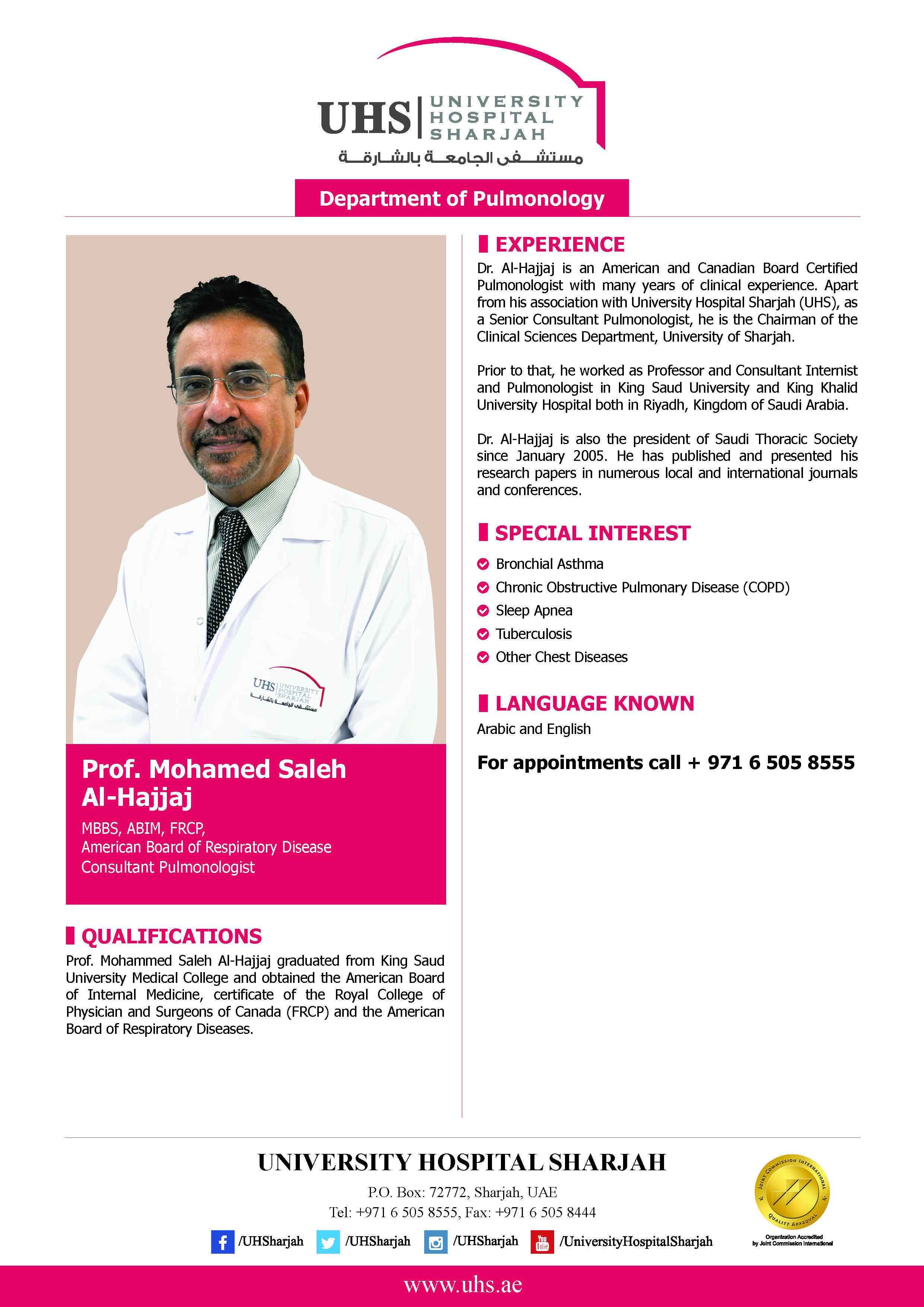 Professor Mohamed Saleh Al Hajjaj A Consultant Pulmonologist Mbbs