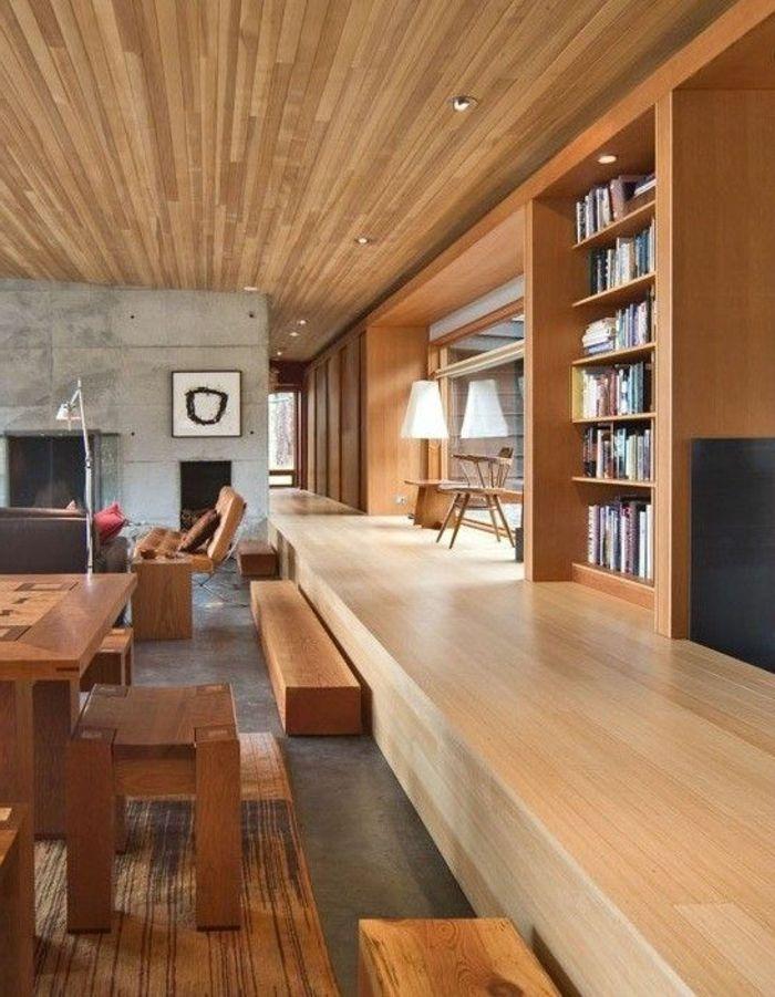 fachadas-modernas-muebles-de-madera-librería-ventanas-grandes-tonos - fachada madera