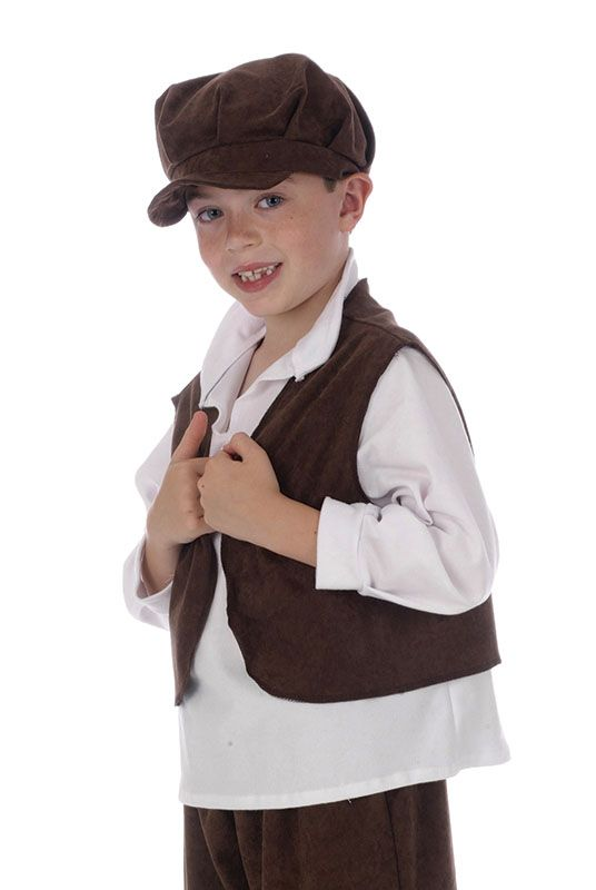 Victorian Urchin Set Waistcoat Cap Boys Kids Fancy Dress Costume Accessory