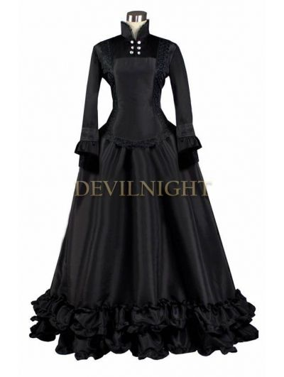 Black Long Sleeves Gothic Victorian Dress | Halloween 2013 ideas ...