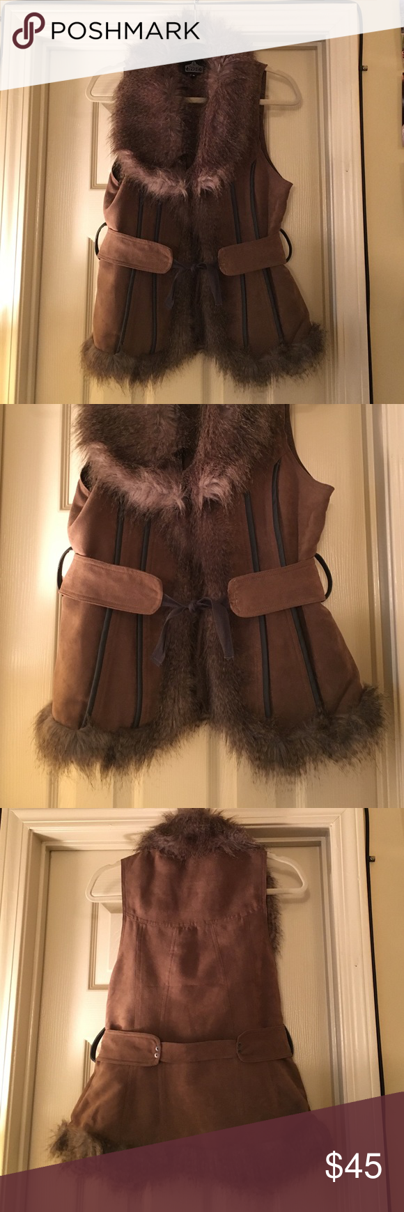 Faux fur and suede best Beautiful faux fur vest with accent belt. Three hooks in front if want to wear closed. Great condition! Angie Jackets & Coats Vests