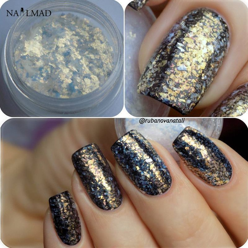3ml/box Chrome Flakes Bling Nail Flecks Powder Nail Art Glitter Dust ...