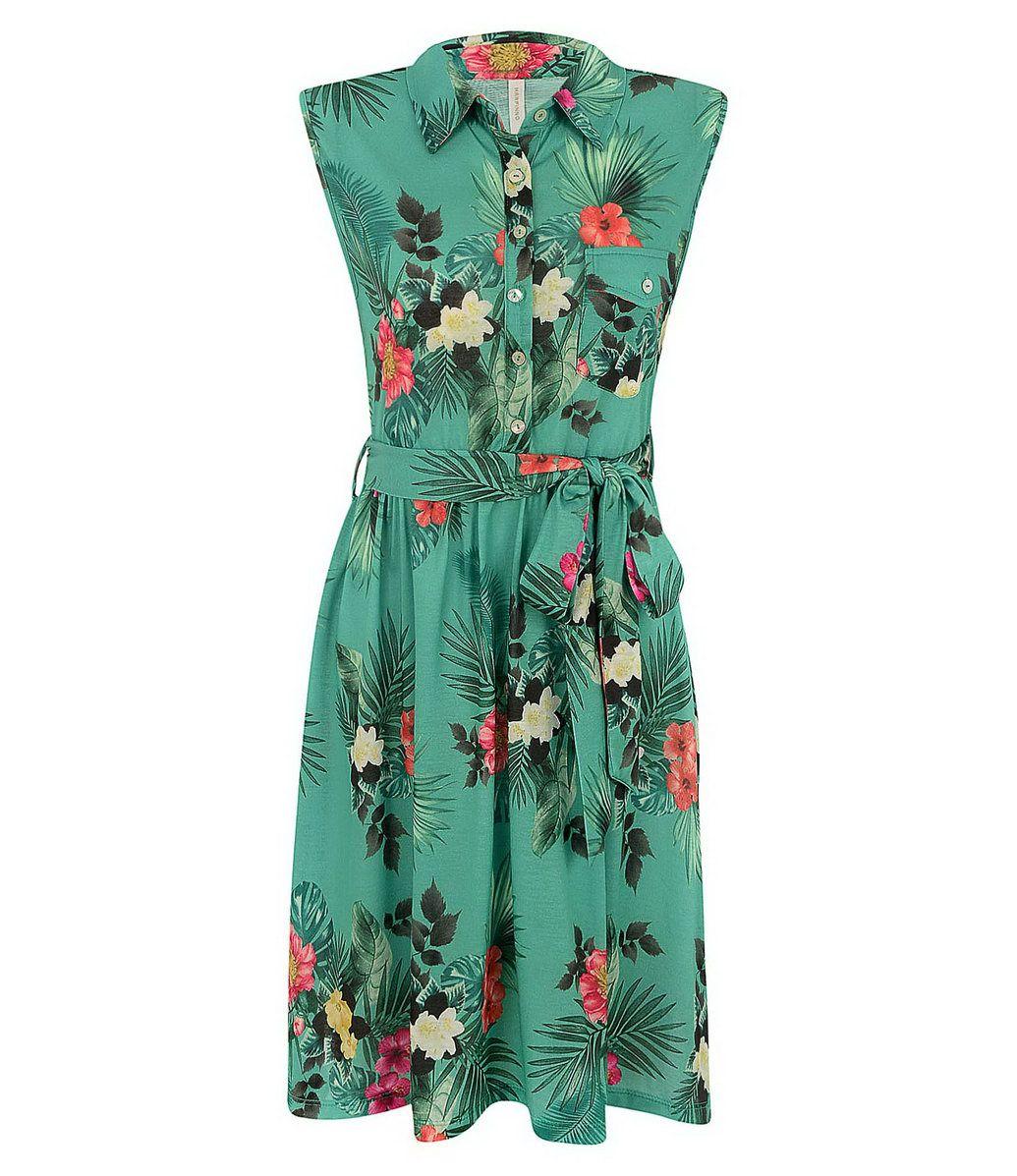 20f9143bd Vestido viscose modelo sem manga, estampa floral e abotoamento frontal com  faixa na cintura para amarração. Composição: 100% Viscose.