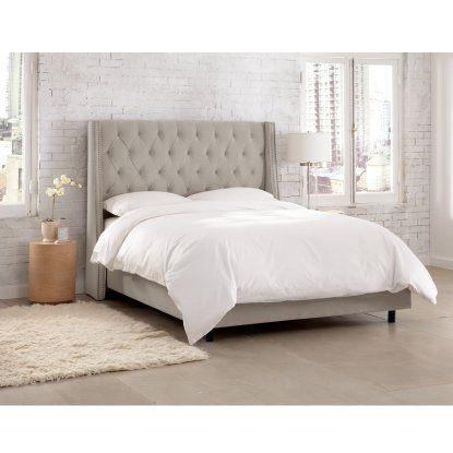 Skyline Tufted Nail Button Wingback Velvet Upholstered Bed - Beds at ...