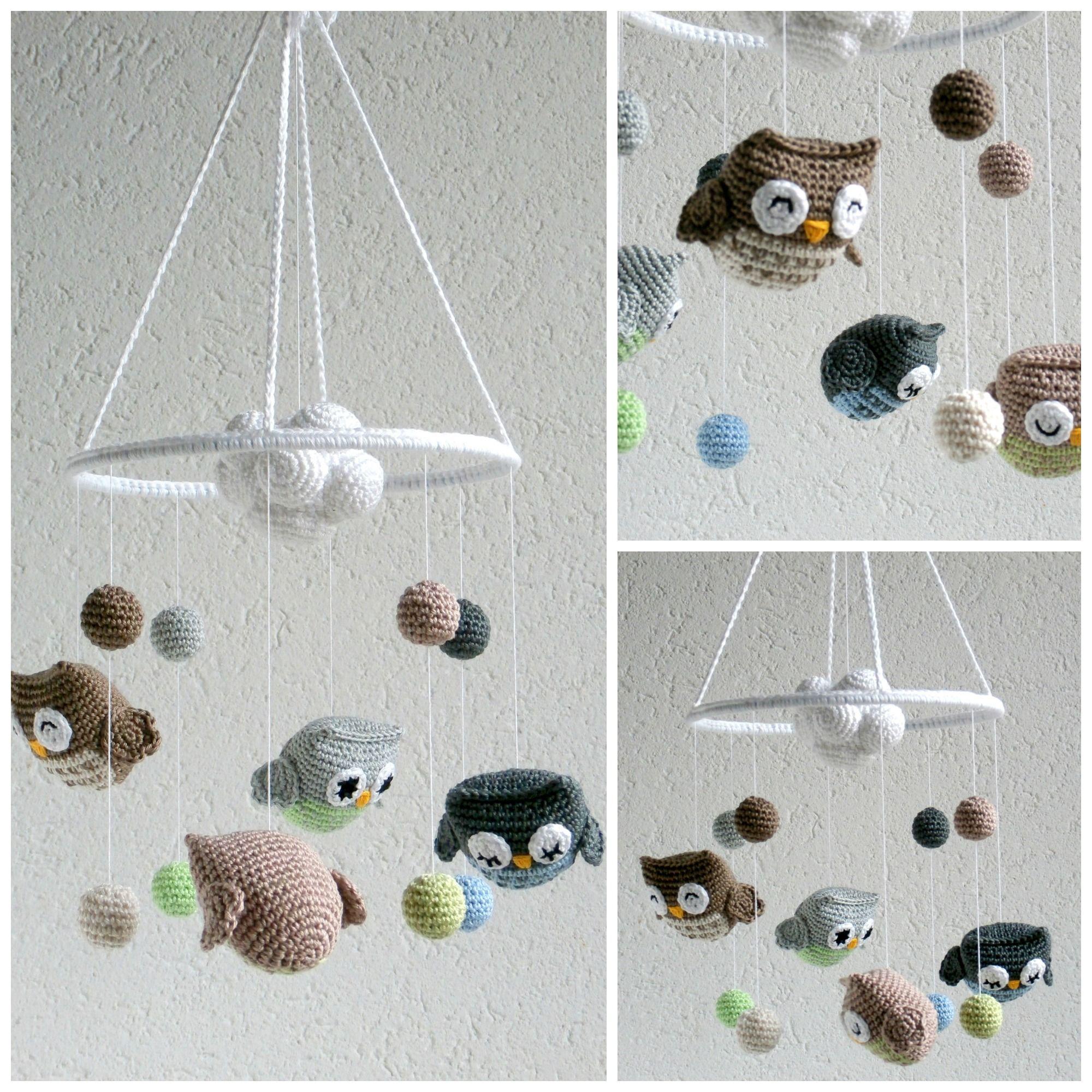 Baby Mobile gehäkelt mit Eulen&Wolke | Mobile Baby gehäkelt crochet ...