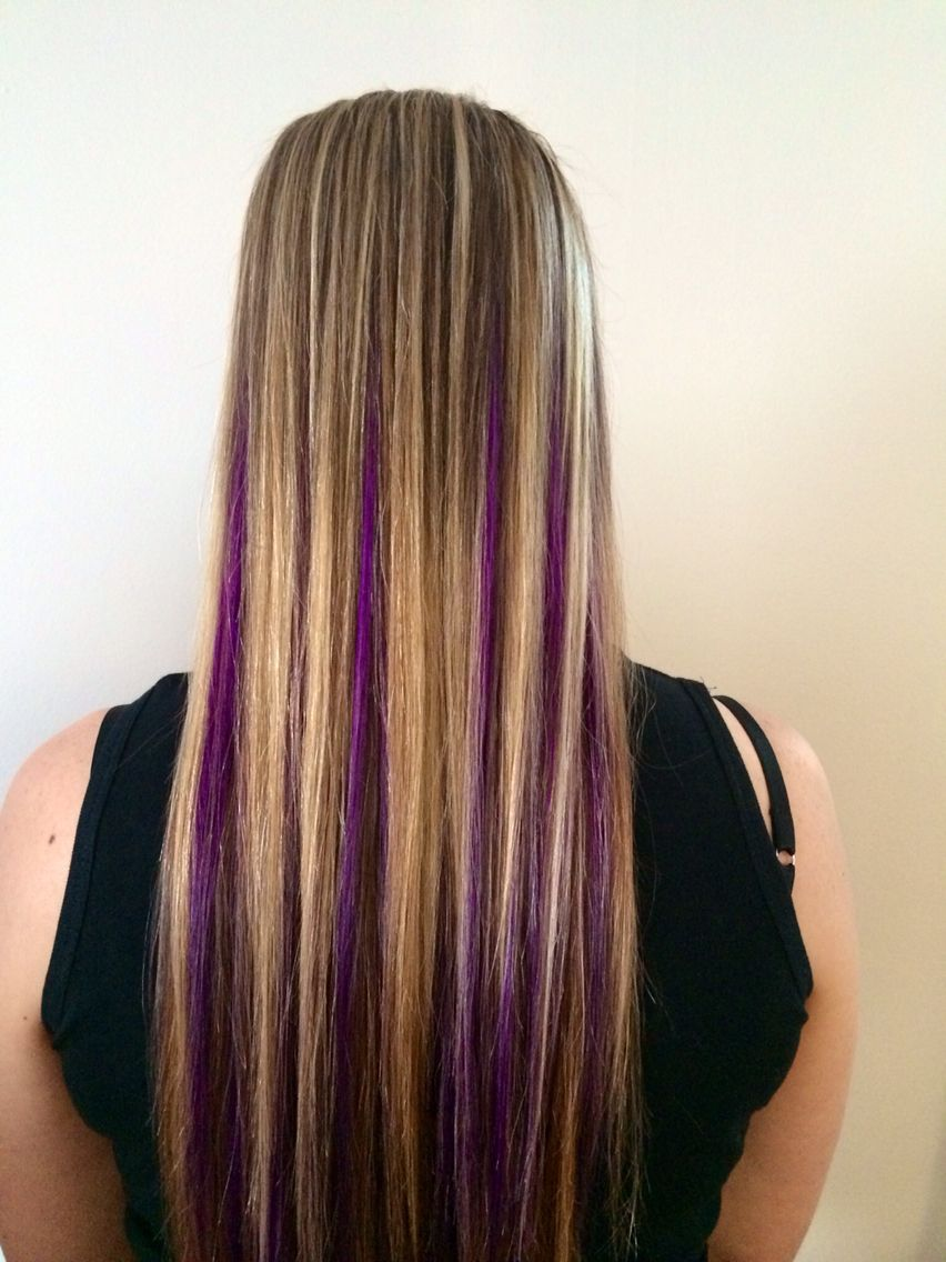Peekaboo Purple With Blonde Highlites Done By Me Kerri At Salon Aura Located In Selden Ny Hair Color Purple Blonde Hair With Highlights Hair Highlights