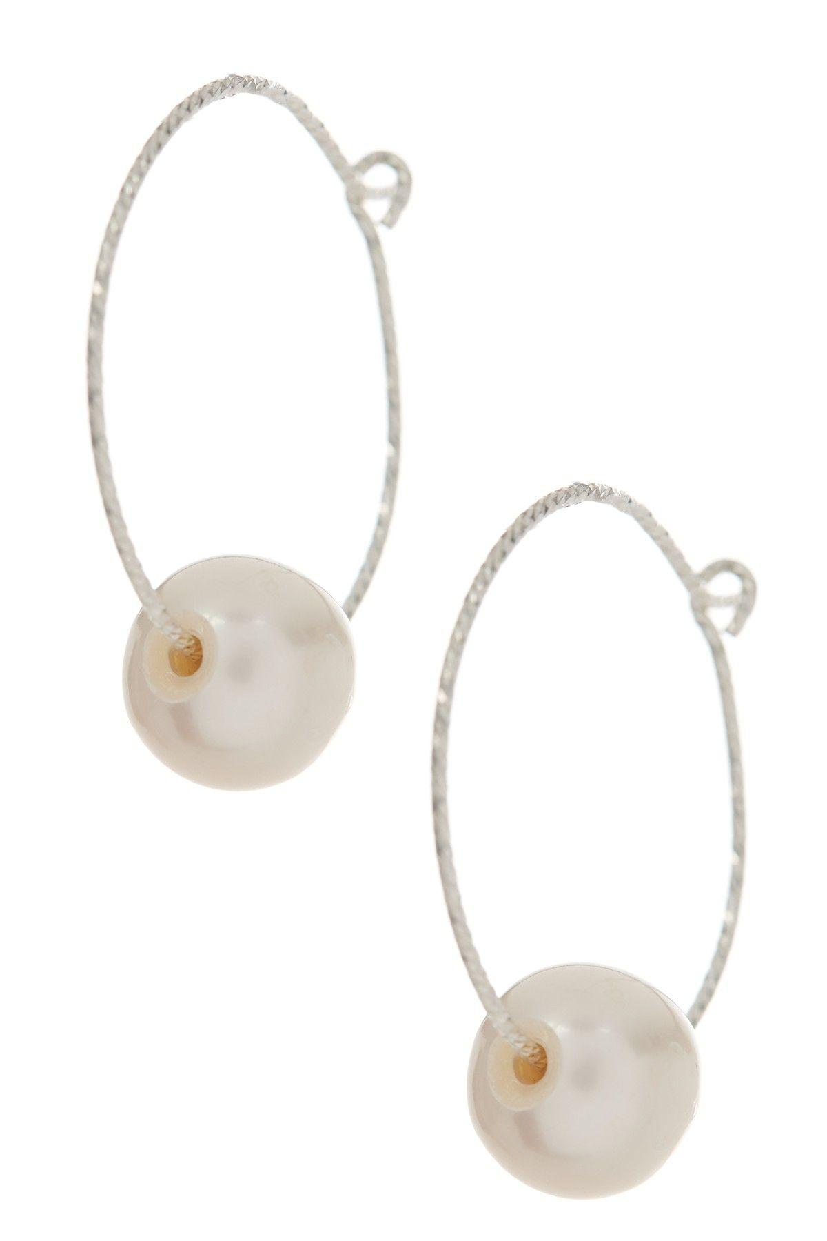 Genuine cultured white freshwater mm pearl hoop earrings