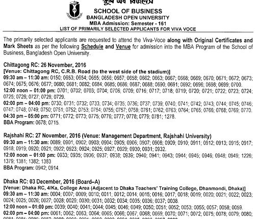 Bangladesh Open University MBA Admission Test Result 2016 - sample higher education resume