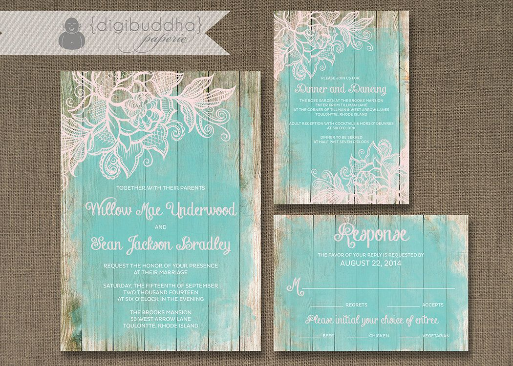 Digital Wedding Invitation Ideas: Lace Wood Wedding Invitation 3 Piece Suite Reception