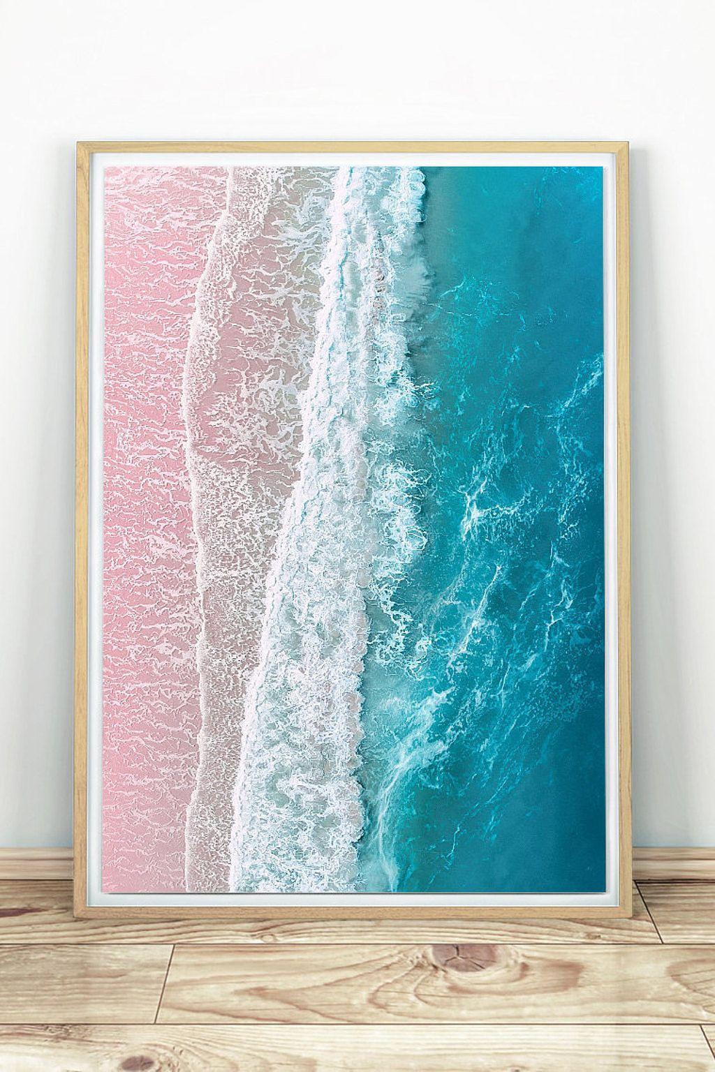 Beach Print Modern Coastal Decor Sea Printable Wall Art Aerial