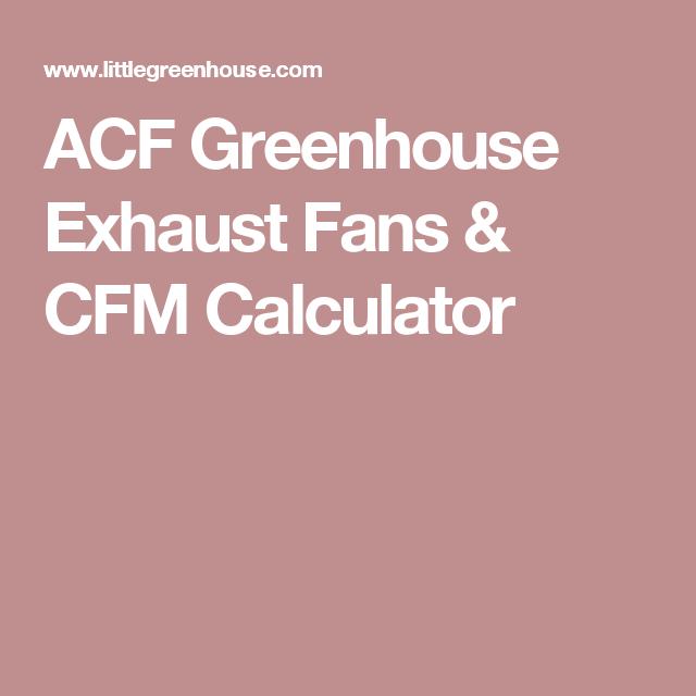 ACF Greenhouse Exhaust Fans & CFM Calculator   Greenhouses