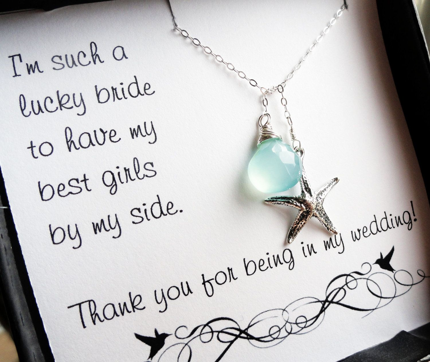Starfish poem card - Bridesmaid Thank You Cards With Starfish Lariat Necklace Beach Wedding Jewelry Aqua Necklace