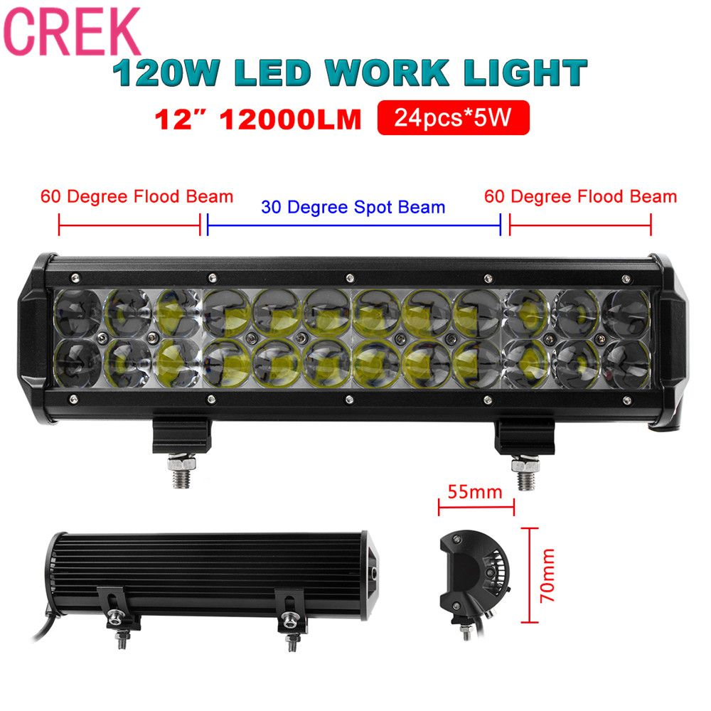 Crek 12000lm 120w 12inch Car Led Flood Spot Combo Work Light Bar For Jeep 4x4 4wd Awd Suv Atv Golf Cart Driving La Bar Lighting Led Flood Work Lights