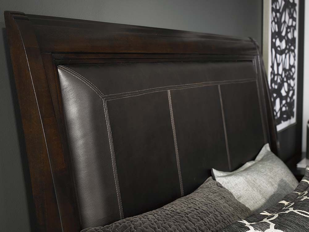 upholstered leather sleigh bed. Cosmopolitan Upholstered Leather Sleigh Bed By Bassett Furniture Is Available In Queen, King, And O