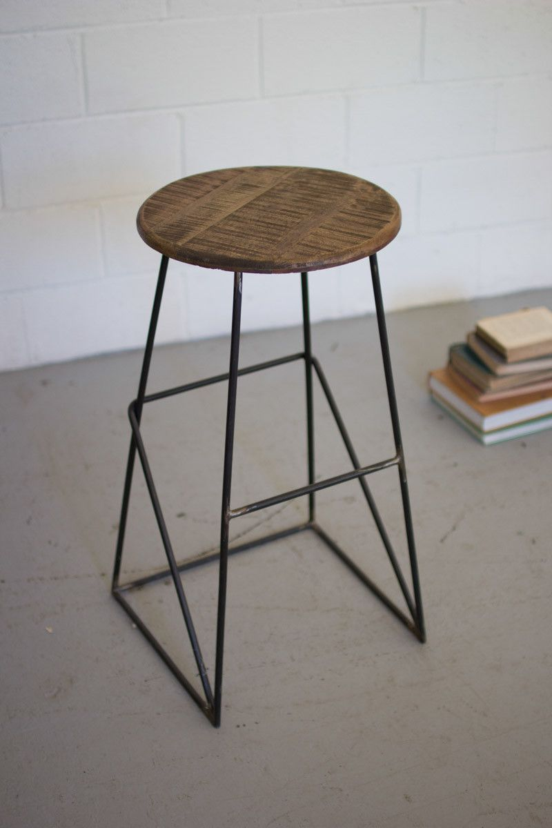 Round Metal Bar Stool With Wooden Top