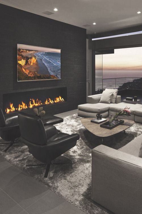 Contemporary Living Room With Electric Fireplace Swivel Chairs Modern 20 That Will Warm You All Winter New Design And Ideas