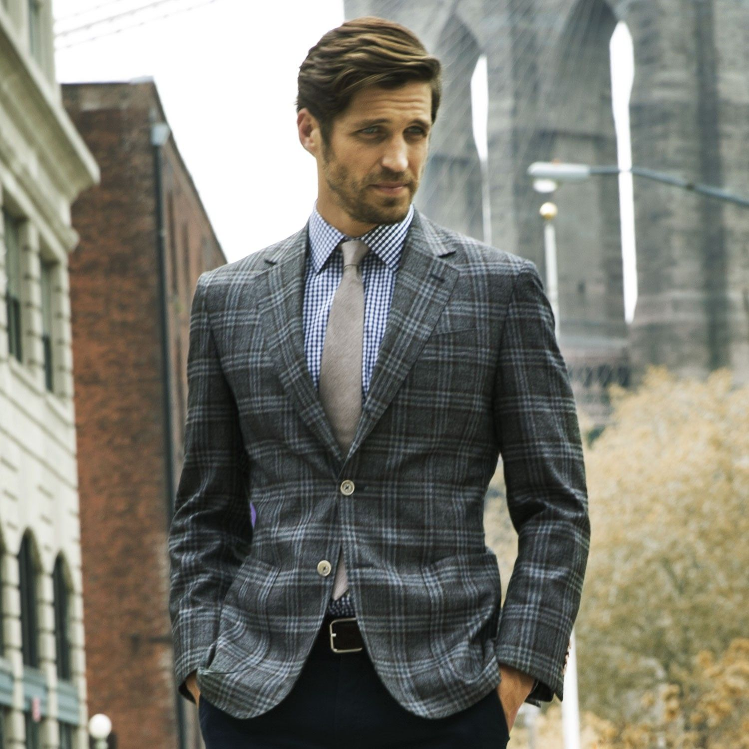 Grey 3 Button Check 1/2 Lined Blazer | Thomas Dean Co. | Sports ...