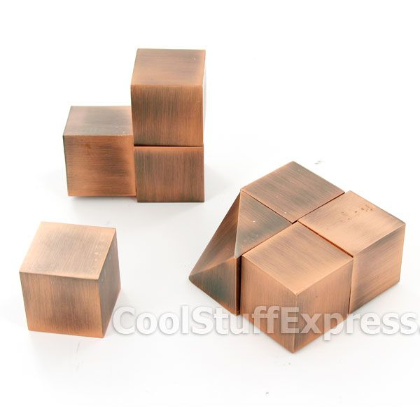 GeoKube Copper Sculptural Magnetic Paperweight