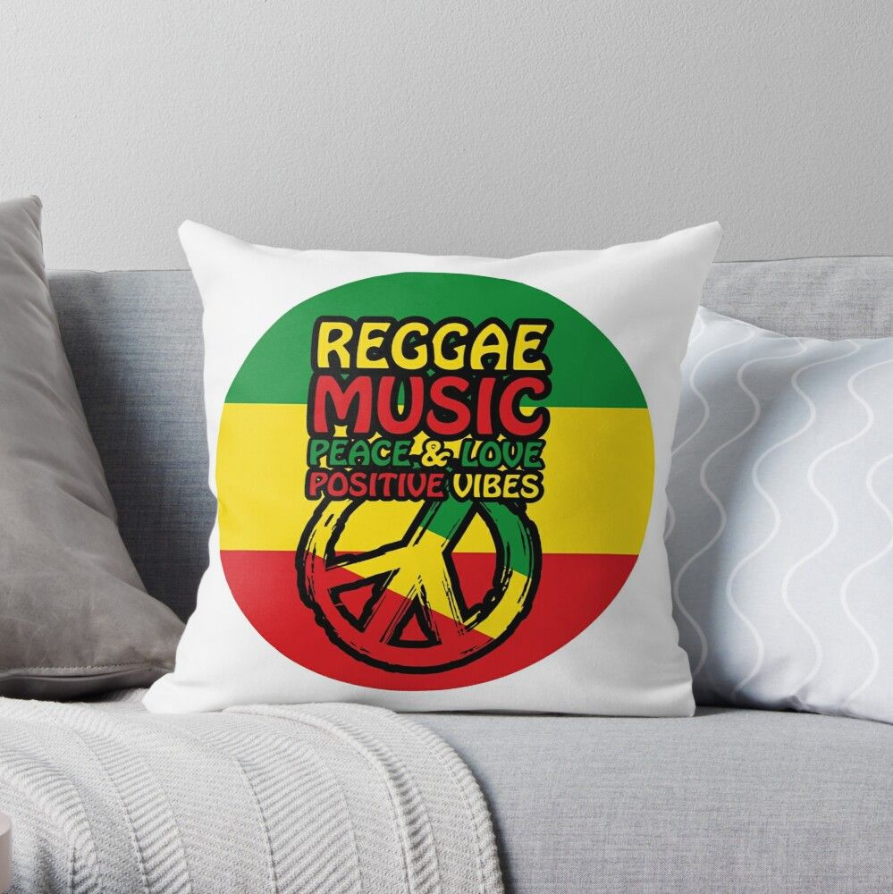 Reggae Music with Positive Sayings and Peace Sign Throw Pillow