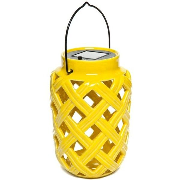 home accents yellow ceramic solar lantern liven your outdoor spaces with this charming ceramic solar lantern itu0027s sure to add a gorgeous glow to any patio - Outdoor Solar Lanterns