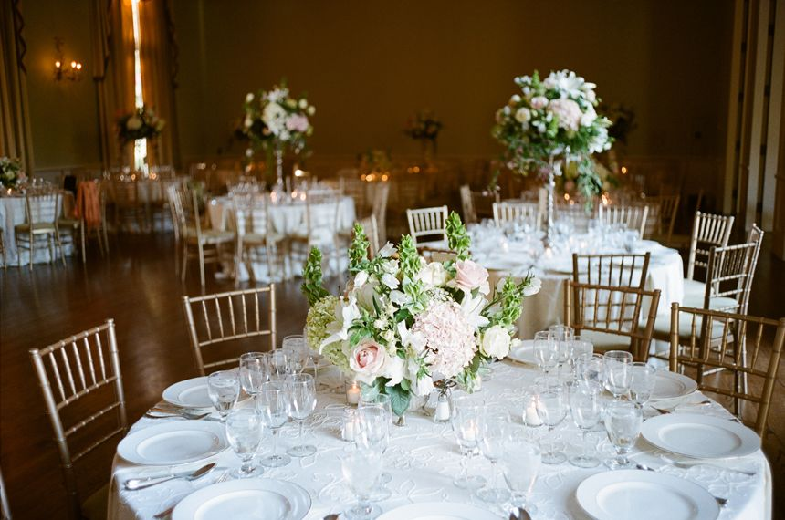 Northern California Country Club Wedding Gold Wedding Reception Pink And White Weddings Low Wedding Centerpieces