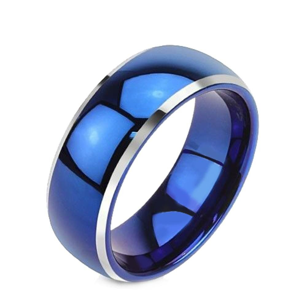 king will 8mm tungsten ring blue polished beveled edge men women