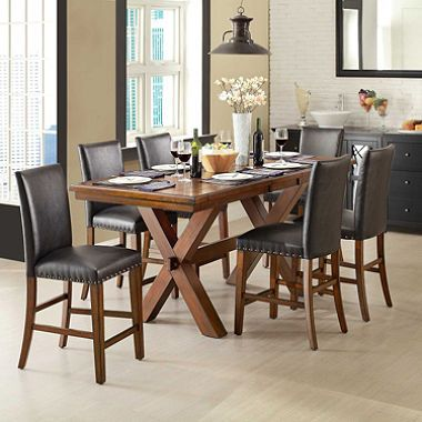 Exceptional Crossridge 7 Piece Counter Height Dining Set With Solid Wood Construction,  Durable Multi Step