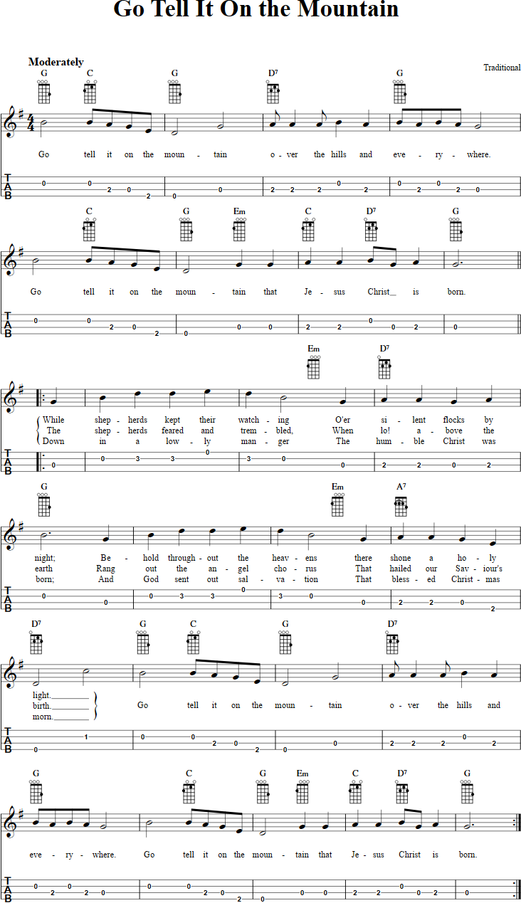 Go Tell It on the Mountain Chords, Sheet Music, and Tab for ...