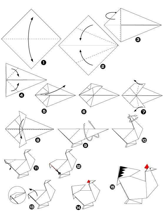 poulet en origami orgamis origami cocotte origami et. Black Bedroom Furniture Sets. Home Design Ideas