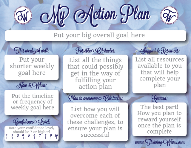 Action Plans Free Printable Template  Thriving Wives