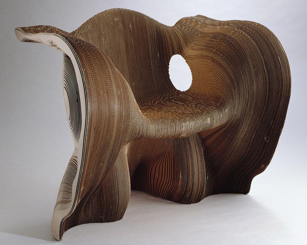 Corrugated cardboard furniture - Mathias Bengtsson Vertical Sliced Chair 2001 Corrugated Cardboard