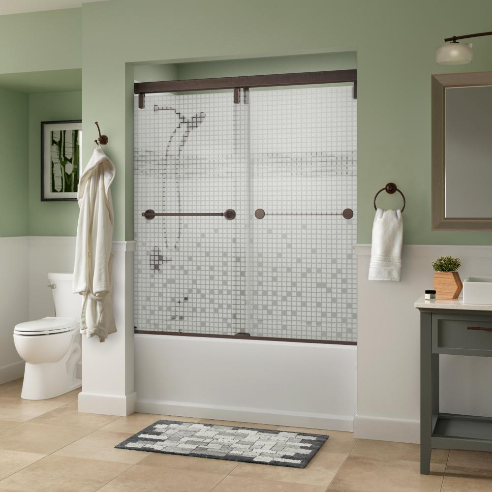 Delta Silverton 60 X 59 1 4 In Frameless Mod Soft Close Sliding Bathtub Door In Bronze With 1 4 In 6mm Mozaic Glass Sd3442847 Bathtub Doors Tub Shower Doors Shower Doors